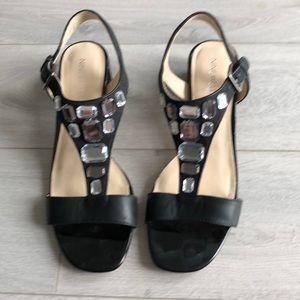 Nine West black bejewelled sandals